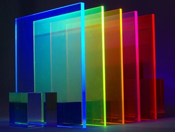 Edge lit acrylic colors for signs and light transmission characteristics