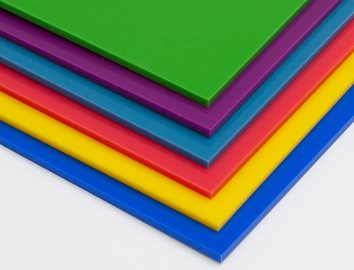 Colored plastic sheets for indoor and outdoor signs, printing, and display as well as plastic sheet materials that meet FDA requirements.
