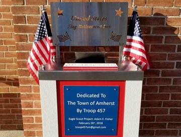 U.S. Flag Retirement Box (made of  UV stabilized HDPE) for worn flags in the Town of Amherst NY