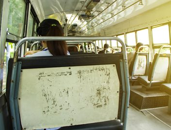 Unlike KYDEX® Thermoplastics, painted metal shows scratches when used in high traffic areas such as a bus seat.