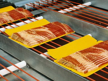 Bacon packaging conveyor- material change and fastener redesign solves stress cracking