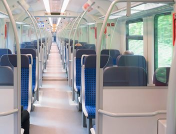 Transparent partitions for transportation applications - for bus and rail interiors